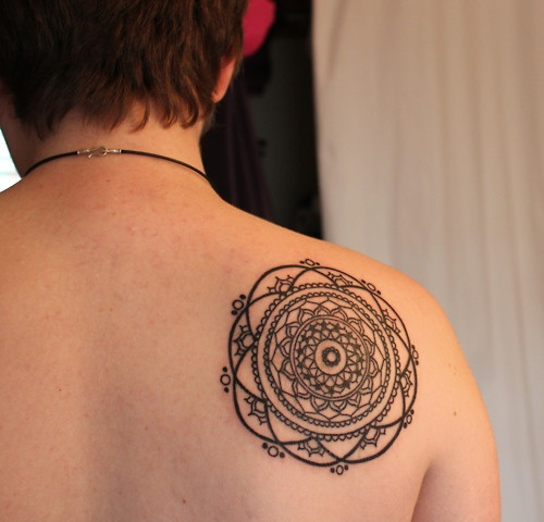 Outline Mandala Tattoo Behind Right Shoulder