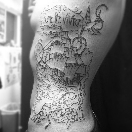 Outline Nautical Tattoos On Full Ribs
