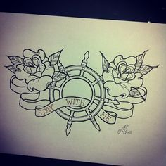 Outline Nautical Wheel And Rose Tattoos Sketch
