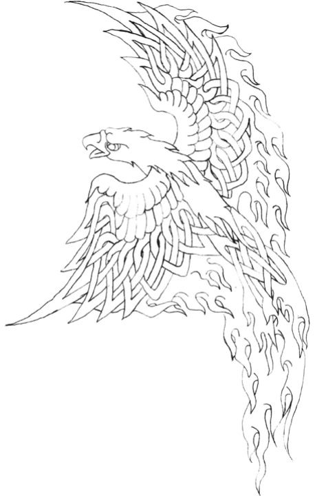 Outline Phoenix Flames Tattoo Stencil