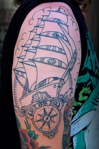 Outline Pirate Ship And Nautical Compasss Tattoos On Arm
