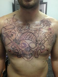 Outline Pirate Skull Pistols And Ship Wheel Tattoos On Full Chest