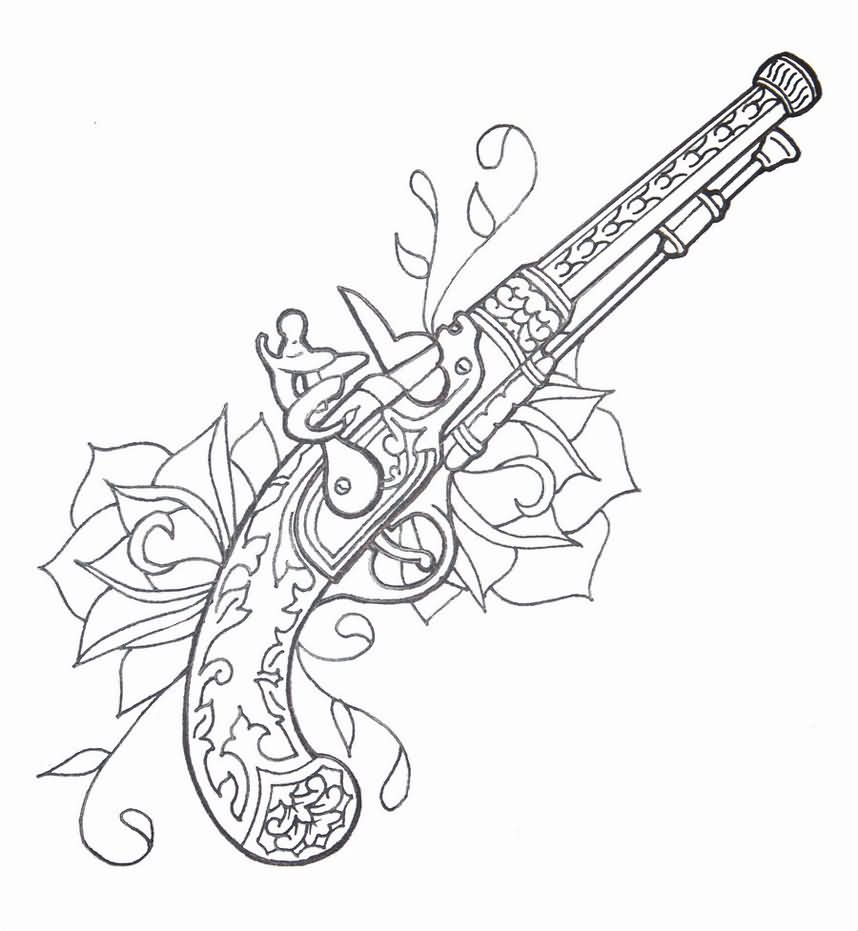 Outline Roses And Flintlock Pistol Tattoos Sketch