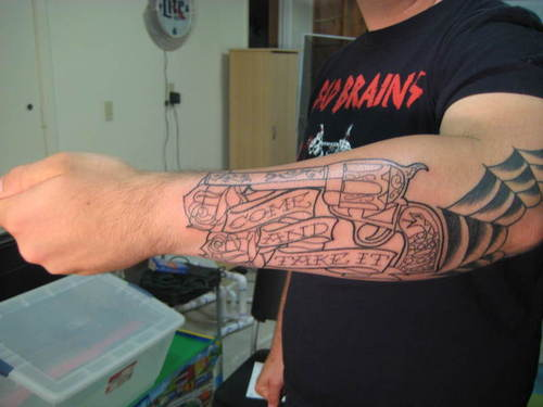 Outline Roses Pistol Tattoos On Left Lower Arm
