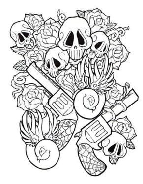 Outline Skull Roses And Pistol Tattoo Designs