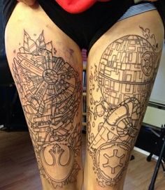 Outline Tattoos On Full Thighs