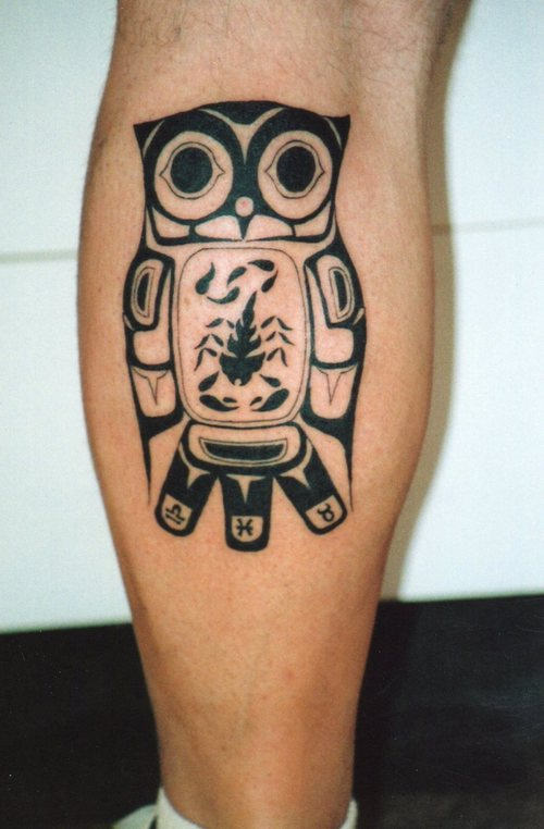 Owl Native American Tattoo On Side Of Leg