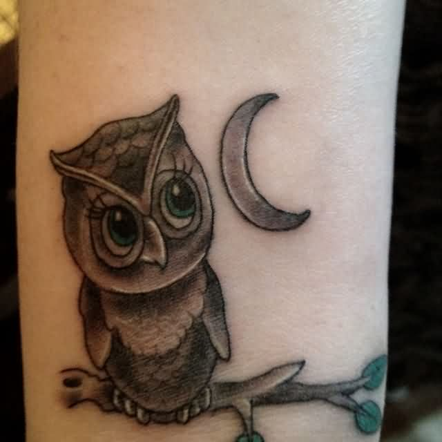 Owl On Branch And Crescent Moon Tattoos