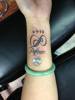 Patience Infinity Symbol Memorable Tattoo For Girls