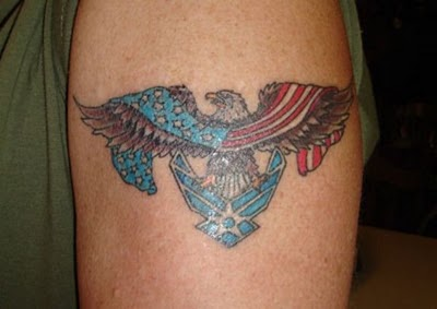 Patriotic Air Force Tattoo On Biceps