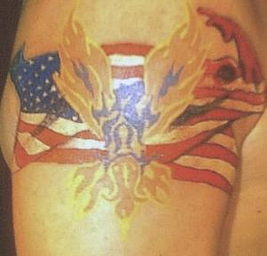 Patriotic And Flame Tattoos On Biceps