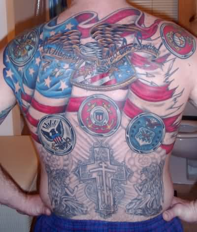 Patriotic And Praying Angel Tattoos