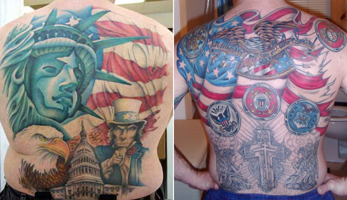 Patriotic Backpiece Tattoos Pics