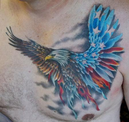 Patriotic Eagle And Flame Tattoos On Chest