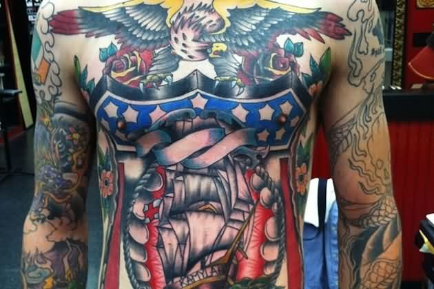 Patriotic Eagle And Pirate Ship Tattoos On Body