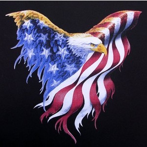 Patriotic Eagle Spread Wings Tattoo Graphic