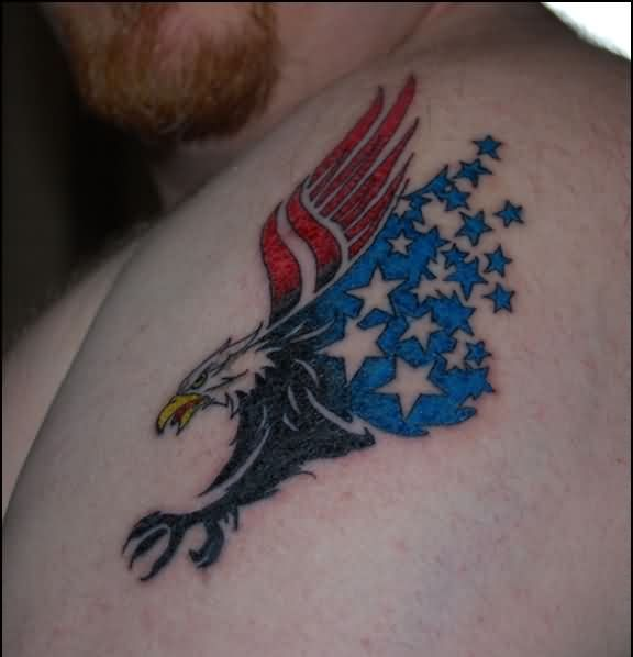 Patriotic Eagle Turning Into Star Tattoos