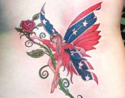 Patriotic Fairy On Rose Vine Tattoo On Back