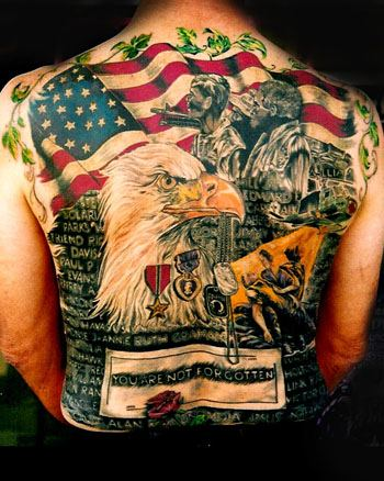 Patriotic Flag And Eagle Tattoos On Whole Back