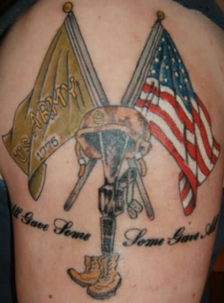 Patriotic Flag And Military Tattoos