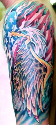 Patriotic Flag Eagle With Arrow Tattoos