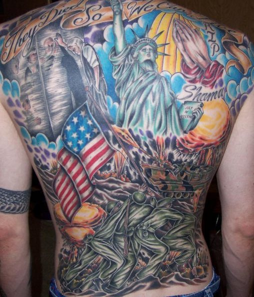 Patriotic Flags And Military Tattoos On Entire Back