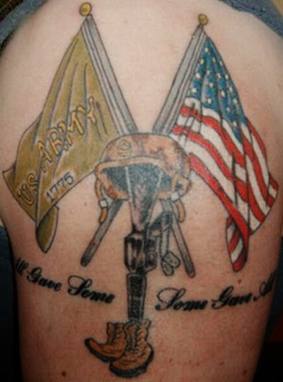 Patriotic Flags And Soldier Equipment Tattoos On Back