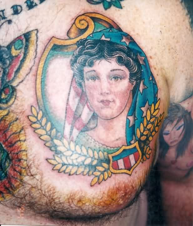 Patriotic Girl Portrait Tattoo On Chest