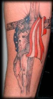 Patriotic Jesus Cross Tattoo