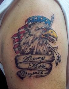 Patriotic Memorial Tattoo On Biceps