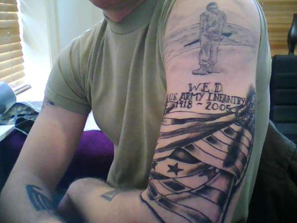 Patriotic Memorial Tattoos On Half Sleeve