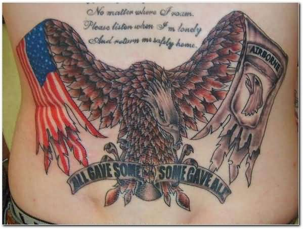 Patriotic Military Memorial Tattoos On Back