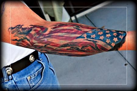 Patriotic Right Arm Tattoos