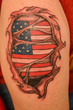 Patriotic Ripped Skin Tattoo Style For Boys
