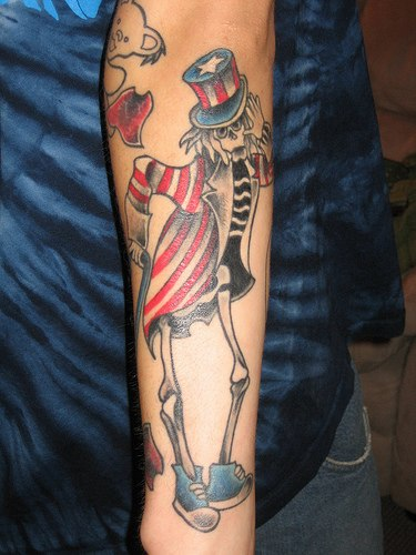 Patriotic Skeleton Tattoo On Arm For Boys