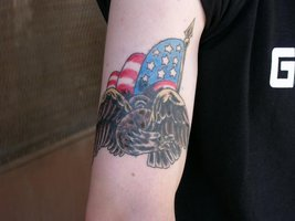 Patriotic Tattoo On Biceps For Boys