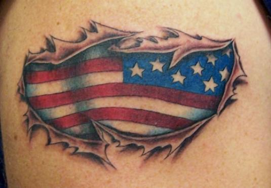 Patriotic US Flag Ripped Skin Tattoo For Men