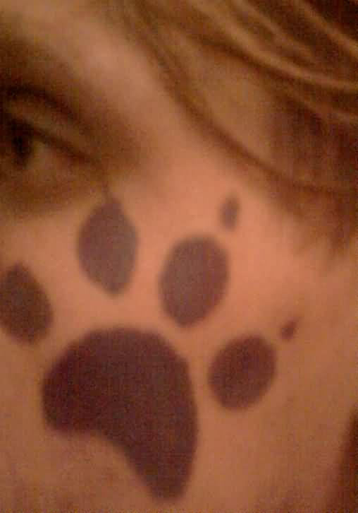 Paw Print Face Paint Tattoo