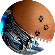 Paw Print Hip Tattoos