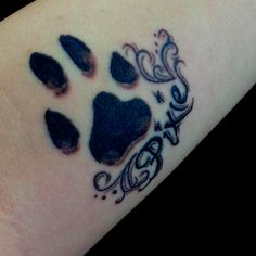 Paw Print Memorial Tattoo On Arm