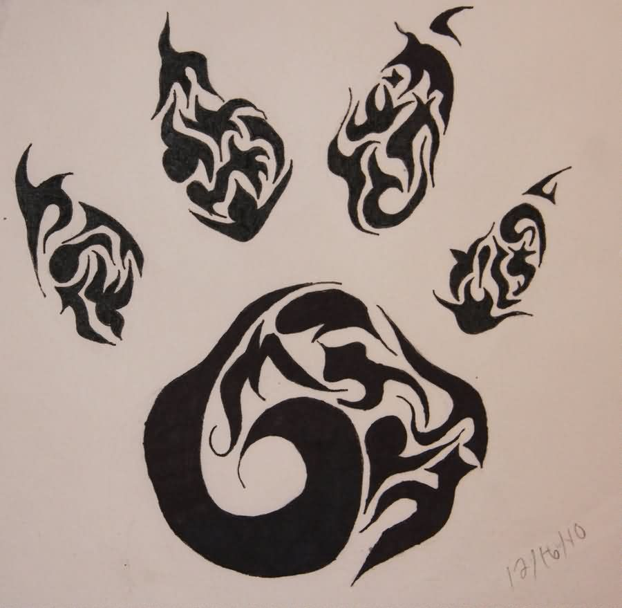 Paw Print Tribal Tattoo Flash