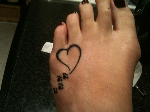 Paw Print Walking Into My Heart Tattoo On Foot