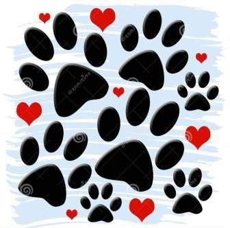 Paw Prints And Red Heart Tattoos