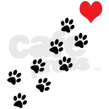 Paw Prints To Red Heart Tattoo Sample