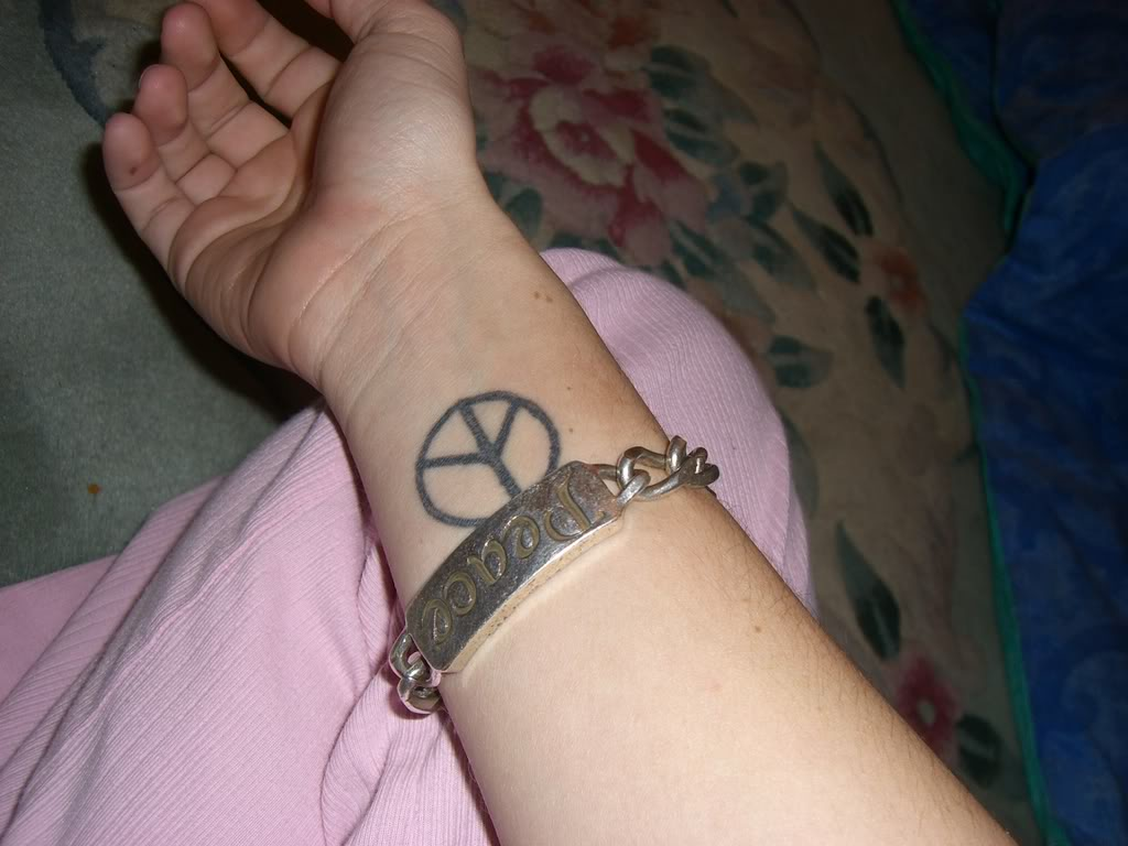 Peace Bracelet And Sign Tattoos