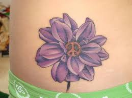 Peace Sign Flower Tattoo On Waist