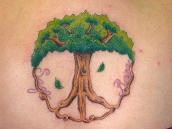 Peace Sign Tree Tattoo