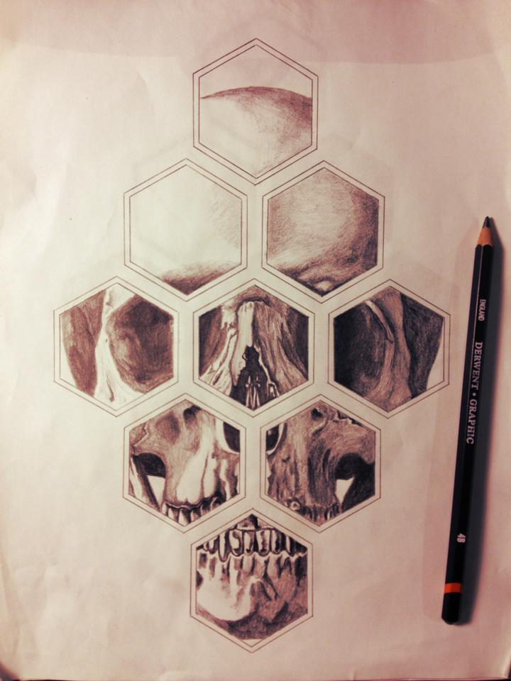 Pencil Sketch Of Geometric Skull