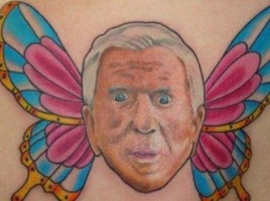 People Scared Face With Butterfly Wings Tattoo
