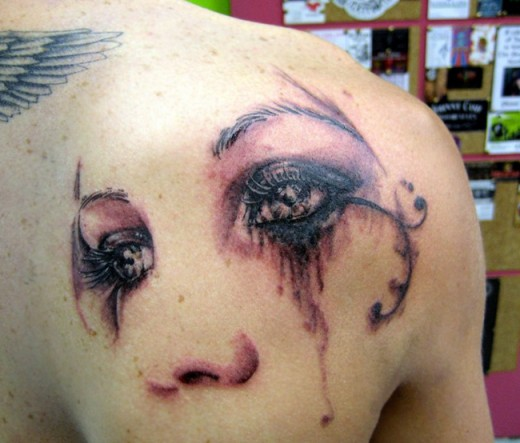 People Weeping Eyes Tattoo Behind Right Shoulder